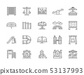 Set of Playground Line Icons. Climbing Rope Net, Swing, Double Seesaw and more. 53137993