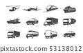 Set of Transport Symbols. Helicopter, Airplane, Train, Cargo Ship and more. 53138012