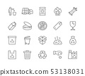 Set of Garbage Line Icons. Waste Factory, Trash Truck, Container and more. 53138031