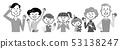 세 가족 상반신 흑백 일러스트 53138247