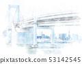 Urban landscape in Tokyo Watercolor style 53142545