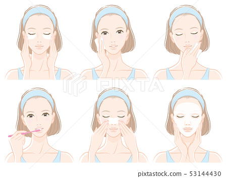 Illustration of a woman doing skin care 53144430