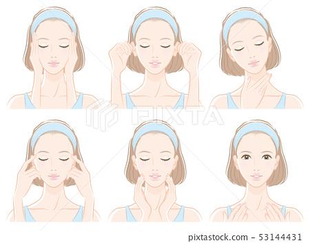 피부 관리를하고있는 여성의 일러스트 53144431
