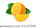 Persimmon fruit with leaves isolated on white background close-up 53147568