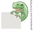 Dinosaur T Rex Peeking and Pointing Sign Cartoon 53147920