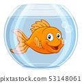 Goldfish in Gold Fish Bowl Cute Cartoon Character 53148061