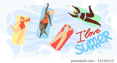 Banner is Written I Love Summer Illustration. 53148125