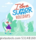 Inscription I Love Summer Holidays Cartoon Flat.  53148160