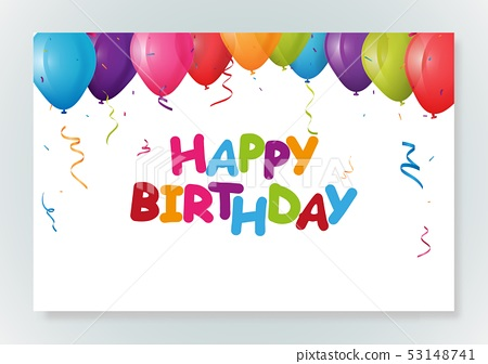 Happy birthday greeting card design with confetti 53148741
