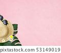 背景 - 海 - 夏天 - 海灘 -  Monstera-Plumeria-草帽 - 太陽鏡 - 粉紅色 53149019