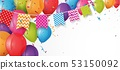 Colorful birthday balloon with bunting flags 53150092