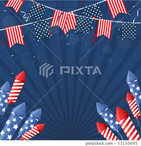Independence day of america with confetti and ribb 53150095