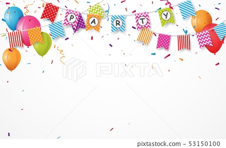Colorful birthday party with bunting flags 53150100