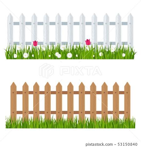 Wooden Fence Near Flower Bed Stock Illustration 53150840 Pixta