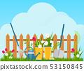 Garden cart with flower pots 53150845