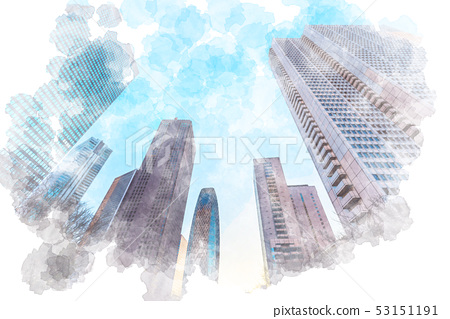 Buildings in Shinjuku just after dawn Watercolor style 53151191