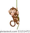 Cartoon baby monkey hanging on a tree branch 53151472