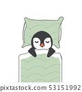 Cute penguin  sleeping cartoon in blanket 53151992