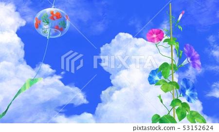夏天圖像風鈴和牽牛花例證 53152624
