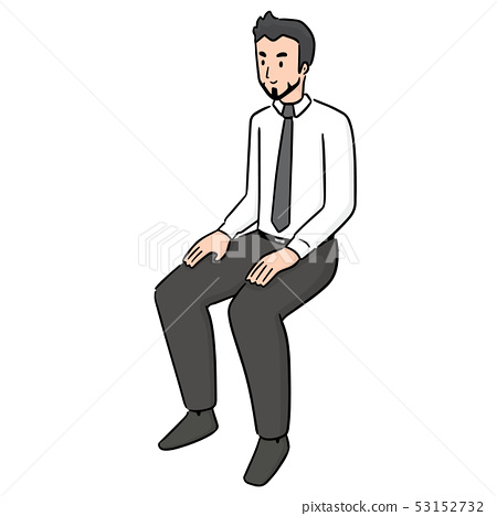 vector of office worker sitting 53152732