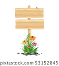 blank wooden sign board with colorful flowers and grass on white background 53152845
