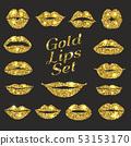 Lips gold set. Design glitter element. 53153170