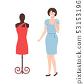 Mannequin with Red Dress and Pretty Woman Vector 53153196