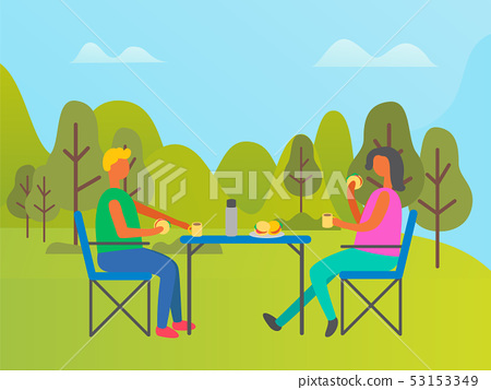 Couple Camping in Forest, People Eating in Park 53153349