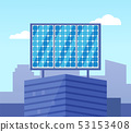 Glossy Solar Powered on Top of Building Vector 53153408
