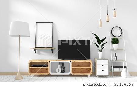 Tv cabinet in modern empty room on white brick 53156355