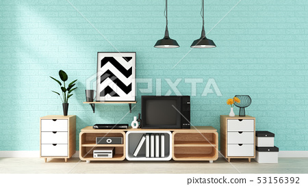 Tv Mockup on mint wall in japanese living room 53156392