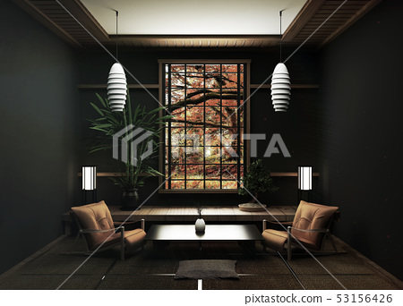 Tatami mats and window view forest trees 53156426
