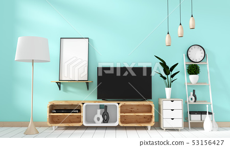 Smart Tv Mockup on mint wall in japanese living 53156427