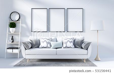 White Living room interior in scandinavian style 53156441
