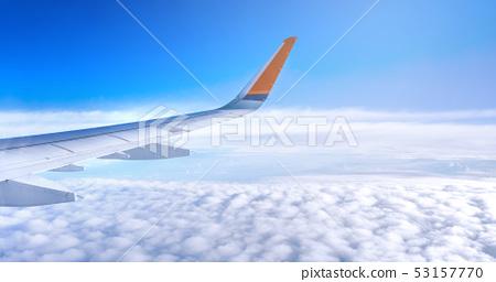 飛機 機翼 天空 白雲 airplane aircraft wing window 飛行機 翼  53157770