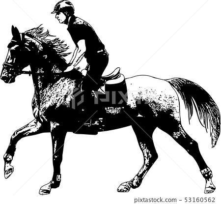 young horseman riding elegant horse sketch 53160562