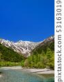 เทือกเขา Kamogawa และ Hotaka มองเห็นได้จากย่าน Kamikochi-Kappabashi สีเขียวสด 53163019