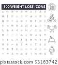 Weight loss line icons, signs, vector set, outline illustration concept  53163742