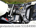 Close-up photo of motorcycle wiring 53164990