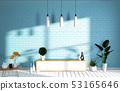 Tv Mockup room mint blue wall in japanese living 53165646
