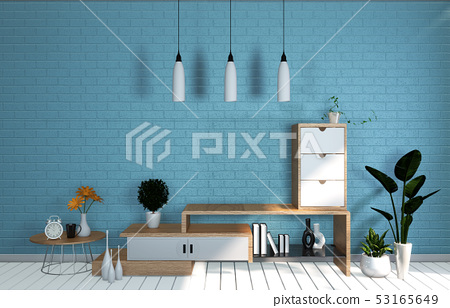 Tv Mockup room mint blue wall in japanese living 53165649