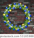 Christmas wreath on the old brick wall 53165988