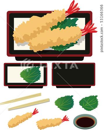 插圖素材蝦天婦羅蝦蝦葉日本料理矢量 53166366