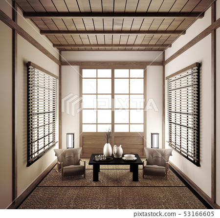 Interior Design Modern Living Room Japanese Style Stock Illustration 53166605 Pixta