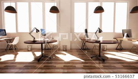 office interior with a row under large windows 53166637
