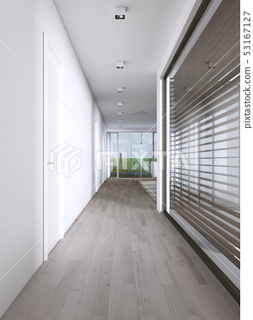 Corridor in a modern house with large windows. 53167127