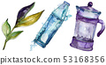 Fresh and cold soft drinks. Watercolor background illustration set. Isolated drink illustration 53168356