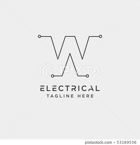 connect or electrical w logo design vector icon 53169536