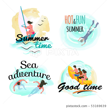 Summer Time and Sea Adventure, Good Time Vector 53169639