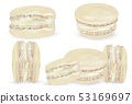 Set vanilla macaroon on white background. 3d realistic almond cookies. Vector illustrations. 53169697
